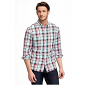 Slim-Fit Brushed-Twill Plaid Shirt for Men