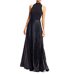 Mock Neck Pleated Gown