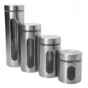 Anchor Hocking 4pc Palladian Canister Set w/ Window in Stainless