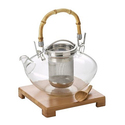 BonJour Coffee and Tea Zen Hand-Blown Glass Teapot Set (4-Piece)