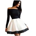 Women's Off Shoulder Lace Spliced Color Block Dress