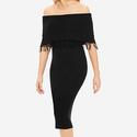Fringe Off-The-Shoulder Sweater Dress