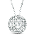 5.0mm Lab-Created White Sapphire Double Frame Pendant
