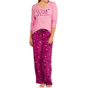 Women's Knit Sleep Top and Microfleece PJ 2-Piece Set