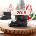 Pottery Barn Santa Boot 2015 Mug