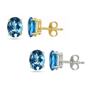 Genuine Blue Topaz Earrings in 14K Gold (1 or 2 Pairs) from $20