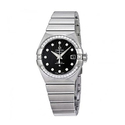 Omega Constellation Black Dial Stainless Steel Ladies Watch