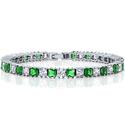 Sparkling Princess Cut Green & White Cubic Zirconia Tennis Bracelet