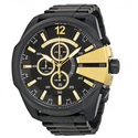 Diesel Mega Chief Chronograph Black Dial Black Ion-plated Men's Watch