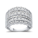 DeCarat 1/2 CTTW Round and Baguette Diamond Ring in Sterling Silver