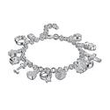Solid Sterling Silver Charm Bracelet with Swarovski Elements