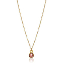 Dogeared January-Garnet Bezeled Birthstone Gold Chain Necklace