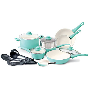 GreenLife Soft Grip 16pc Ceramic Non-Stick Cookware Set, Turquoise