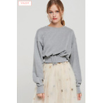 Cathy Belted Cropped Sweatshirt