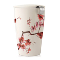 Tea Forte KATI Single Cup Loose Tea Brewing System, Ceramic Cup with Tea Infuser and Lid, Cherry Blossoms