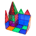 PicassoTiles 60 Piece Set 60pcs Magnet Building Tiles Clear Magnetic 3D Building Blocks Construction Playboards