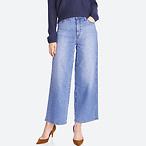 女式高腰阔腿牛仔裤