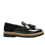 黑色麂皮&牛皮乐福鞋