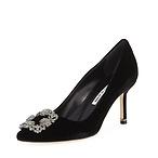 MB 7厘米水晶扣丝绒高跟鞋