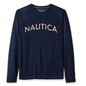 Nautica Men's Long Sleeve Graphic Sleep Tee, Navy, Small