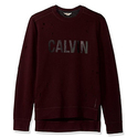 Calvin Klein Jeans Men's Distressed Calvin Crew Neck Sweatshirt, Spiced Currant, Medium
