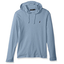 Nautica Men's Long Sleeve Classic Fit Jersey Hoodie T-Shirt, Deep Anchor Heather, Large