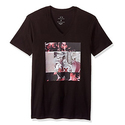 Armani Exchange Men's Flower Block Printed V Neck Tee, Black, Medium