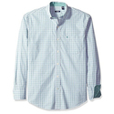 IZOD Men's Essential Check Long Sleeve Shirt, North Sea, Large