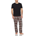 Nautica Men's Flannel Pant Tee Set, Black, Small