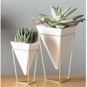 Umbra Trigg Desktop Planter Vase & Geometric Container Set of 2