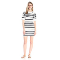 French Connection Women's Joshua Stripe Dress, Summer White/Utility Blue, 4