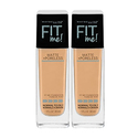 Maybelline New York Fit Me Matte + Poreless Liquid Foundation Makeup, Nude Beige, 2 Count