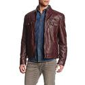 Kenneth Cole REACTION Men's Faux-Leather Moto Jacket - Medium
