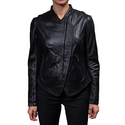 Coats Direct:Extra 55% OFF Laundry Black Leather Zip Front Jacket