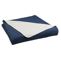 AmazonBasics Reversible Fleece Blanket - Throw, Navy/Cream