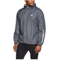 New Balance Men's Lightweight Printed Packable Jacket, Charcoal Space Dye/Black, Medium