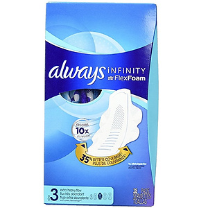 Always Infinity Feminine Pads with Wings -Size 3, 28 ct, 3 pk