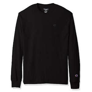 Champion Men's Classic Jersey Long Sleeve T-Shirt, Black