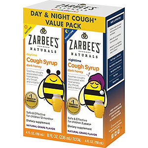 Zarbee's Naturals Children's Cough Syrup with Dark Honey Day & Night Value Pack, Natural Grape Flavor, 4 Fl Oz, 2 Count