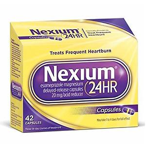 Nexium 24HR (20mg, 42 Count) Delayed Release Heartburn Relief Capsules, Esomeprazole Magnesium Acid Reducer