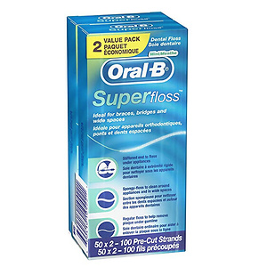 Oral-B Super Floss Pre-Cut Strands 50ct - Twin Pack