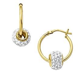 施华洛世奇元素水晶镶嵌18K纯银镀金耳环