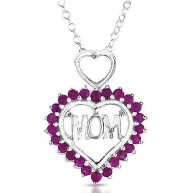 SZUL: 1.25 克拉紫红宝石心形银吊坠
