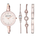 超美!史低价!Anne Klein 珍珠母贝施华洛世奇腕表4件套 超美粉金