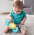The perfect bedtime friend for baby! Soft and cuddly seahorse lights up and glows to 8 lullabies and the soothing sounds of the ocean when baby gives it a gentle squeeze