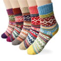 Womens 5 Pairs Vintage Style Winter Warm Thick Knit Wool Cozy Crew Socks $7.99