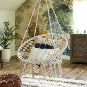 Handwoven Cotton Macrame Hammock Hanging Chair Swing w/ Backrest