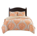 Comfort Spaces Coco 2 Piece Quilt Coverlet Bedspread Ultra Soft Printed Damask Pattern Hypoallergenic Bedding Set, Twin/Twin XL, Orange - Taupe