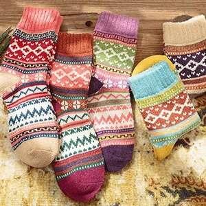 Amazon 超高人气 复古毛线袜 5双装 低至$10.99 马丁靴好伴侣