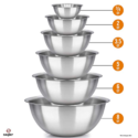 mixing bowls - mixing bowl Set of 6 - stainless steel mixing bowls - Polished Mirror kitchen bowls - Set Includes ¾, 2, 3.5, 5, 6, 8 Quart - Ideal For Cooking & Serving - Easy to clean $19.99
